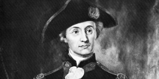 John Paul Jones, hero in the American Revolutionary War, (c1930s). Jones (1747-1792) was the first well-known naval hero in the American Revolutionary War, and founded the US Navy.