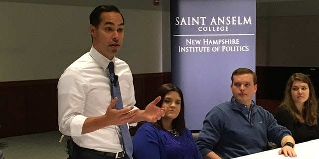 Julian Castroat the New Hampshire Institute of Politics last February.