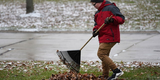 "Kaleb Klakulak raking leaves in Rochester Hills, Mich., as he raises money for a headstone for his best friend Kenneth ""K.J."" Gross, who died of cancer last year. (Max Ortiz/Detroit News via AP)"