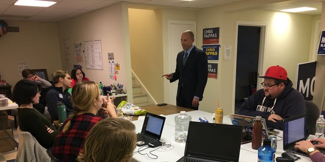 Michael Avenatti speaks with party activists and volunteers at Exeter, NH, at the Rockingham County Democrats HQ on Oct. 22. (Paul Steinhauser)