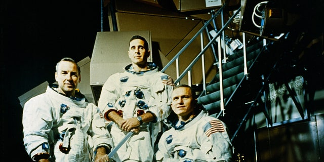 The Apollo 8 Crew included (L to R) Jim Lovell, Command Module (CM) pilot; Bill Anders, Lunar Module (LM) Pilot; and Frank Borman, Commander.