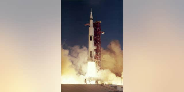 The Apollo 8 crew launches on the first manned mission to the Moon.