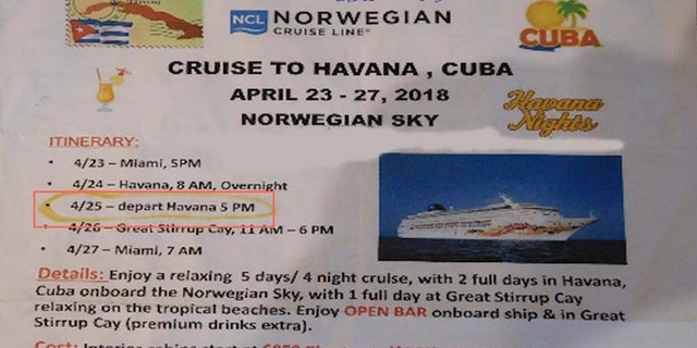 Rohrer told Elliott Advocacy they later found out Norwegian Cruise Lines had changed the scheduled departure time at Havana from 5 p.m. to 2 p.m.