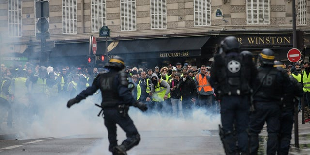"Clashes between police and demonstrators, during demonstration of the ""Yellow vests"", in Paris, France, on December 8th 2018."