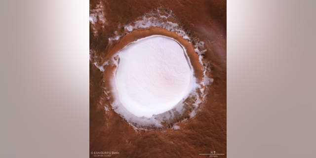 A view of the ice-filled Korolev crater on Mars.