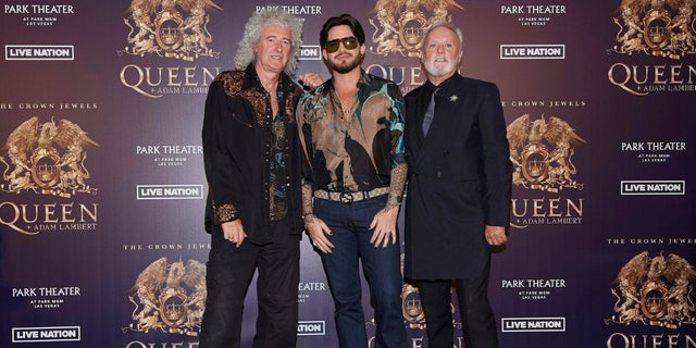 From left: Brian May, Adam Lambert and Roger Taylor of Queen.