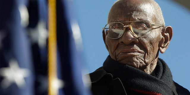 America's oldest veteran, Richard Overton — who served in the Army during World War II and credited God, whiskey and cigars for his longevity — died Thursday in Texas at the age of 112. (AP Photo/Pablo Martinez Monsivais)