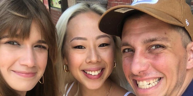 Sarah Lee (middle) invited Nick Long (right) who was homeless at the time, along with his wife, Alexandra Kourkine (left), to stay in her one-bedroom apartment in Brooklyn, NY. Now they're on the road to rebuilding their family.
