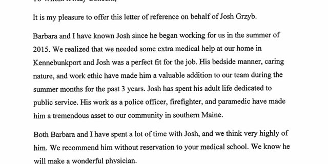 "Josh Grzyb said President George H.W. Bush wanted to help him get into medical school ""without hesitation."" He got his acceptance letter the day before Bush died and wishes he could thank the former president."