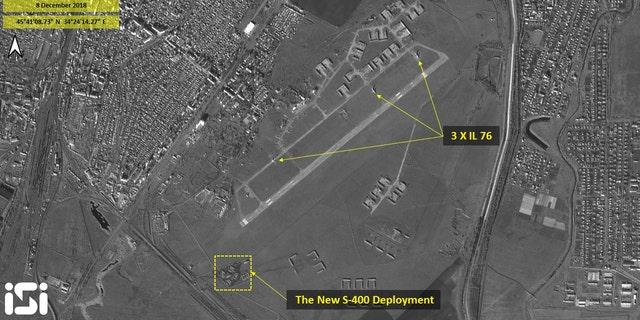 The three Russian Ilyushin -76 cargo planes were spotted at the Dzhankoi airbase in Crimea.