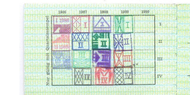 Putin had been using the card until late 1989, stamps show.