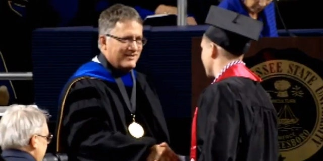 Jay Strobino walked across the stage on Saturday after graduating from Middle Tennessee State University.