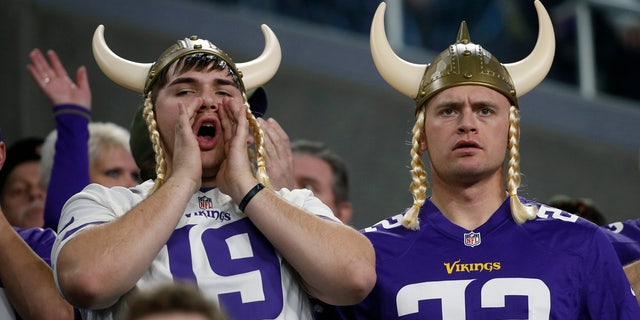 Minnesota Vikings fans watch from the stands during the second half of an NFL football game against the Chicago Bears, Sunday, Dec. 30, 2018, in Minneapolis. (AP Photo/Bruce Kluckhohn)