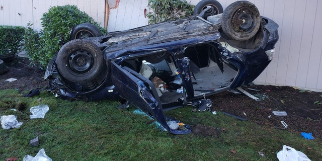The violent crash left both vehicles mangled, and the man and woman needed to be rescued by first responders.