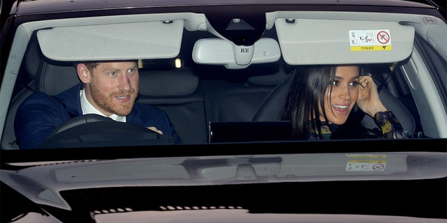 The Duke and Duchess of Sussex leaving the Queen's Christmas lunch at Buckingham Palace, London.