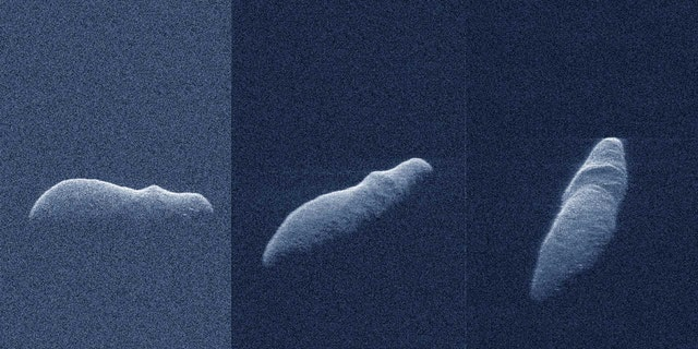 These three radar images of near-Earth asteroid 2003 SD220 were obtained on December 15-17, 2018.