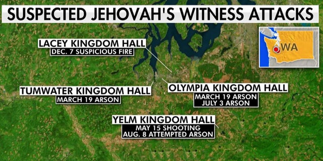 The dates and locations of attacks at Jehovah's Witness Kingdom Halls in Washington state this year.