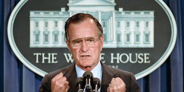 In this June 5, 1989 file photo, U.S. President George H.W. Bush holds a news conference at the White House in Washington, D.C.