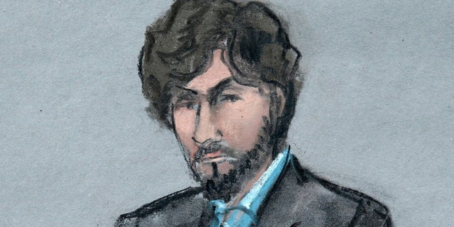 In this June 24, 2015 file courtroom sketch, Boston Marathon bomber Dzhokhar Tsarnaev sits as survivors and victim's family members address the court