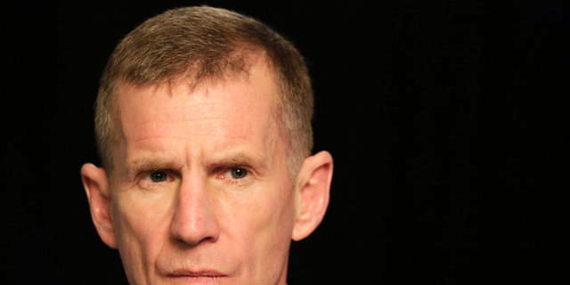 "FILE- In this Jan. 7, 2013, file photo retired Gen. Stanley McChrystal reacts during an interview with The Associated Press in New York. The former top U.S. commander in Afghanistan says that withdrawing up to half the 14,000 American troops serving there reduces the incentive for the Taliban to negotiate a peace deal after more than 17 years of war. McChrystal says on ABC's ""This Week"" that the U.S. has ""basically traded away the biggest leverage point we have."" (AP Photo/Mark Lennihan, File)"