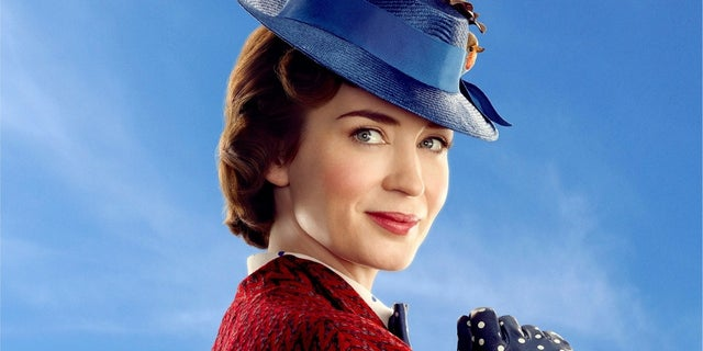 "Emily Blunt portrays Mary Poppins in the 2018 film ""Mary Poppins Returns."""