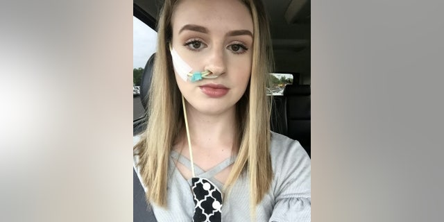 Hannah's doctors made the decision to insert a temporary tube which bypasses her stomach and inserts nutrition directly into her small intestine through a tube in her nose.