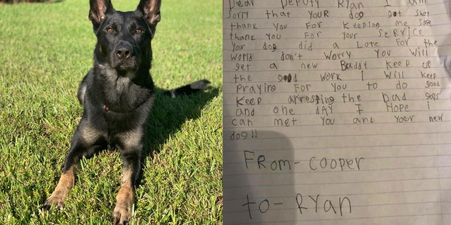 Palm Beach Sheriff's Office K-9 Officer Cigosacrificed his life to save his fellow officers during a Christmas Eve shooting on Monday. A Florida boy named Ryan penned a letter shared on Thursday to the deputy to whom Cigo belonged.