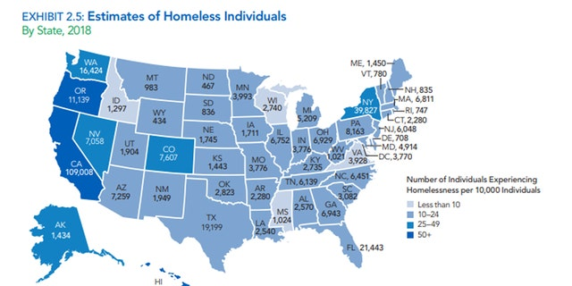 An estimate of the numbers homeless individuals, by state, in 2018.