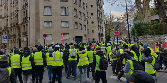 Yellow-jacketed protesters gather in Paris for protests on Saturday, Dec. 8, 2018. (Lukas Mikelionis/Fox News)