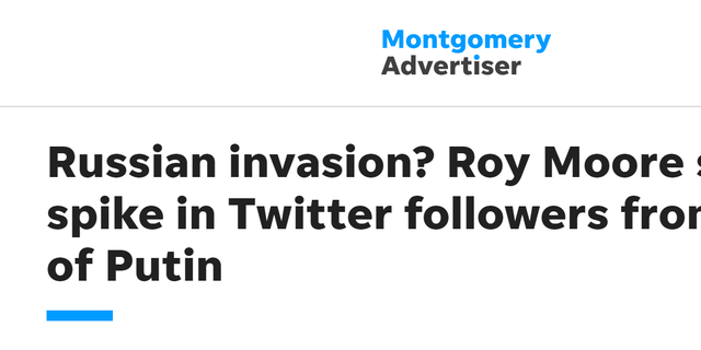 """Russian invasion? Roy Moore sees spike in Twitter followers from land of Putin,"" read the headline of an article at The Montgomery Advertiser, just months before the election night. Other outlets shortly picked up the story."