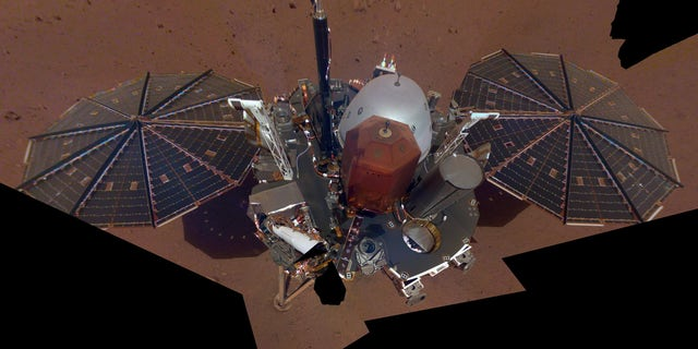The first selfie taken by NASA's InSight lander on Mars. The 11-image composite, which was released on Dec. 11, 2018, shows the lander's solar panels and deck.