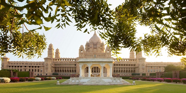 The hotel hosting the wedding is an actual royal palace, and one of the world's largest private residences. The palace has 347 rooms,some of which are operated by Taj Hotels. It spreads across 26 acres, which are monitored by freely-moving peacocks.