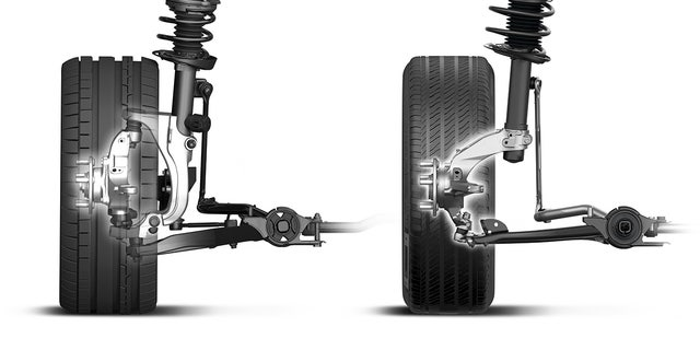 The Type R front suspension (right) is dramatically different than the standard Civic design (left).