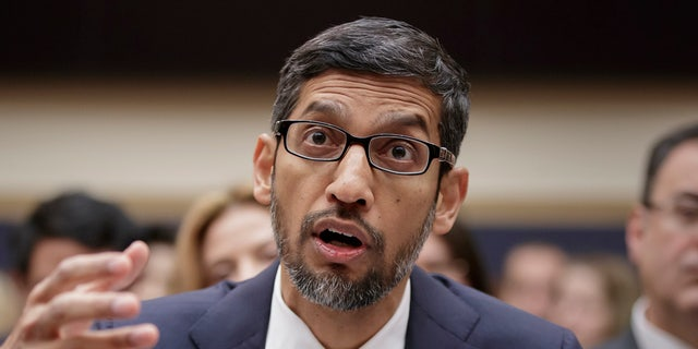 Google CEO Sundar Pichai appears before a House Judiciary Committee in Dec 2018.