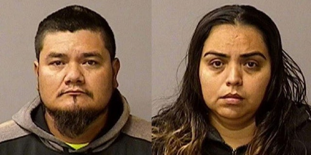 Conrado Virgen Mendoza, 34, left, of Chowchilla, and Ana Leyde Cervantes, 30, of Newman, and were arrested Friday in connection with the death of a Newman police corporal, authorities say.