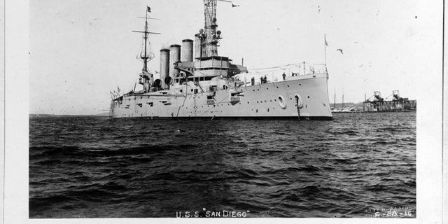 USS San Diego on Jan. 28, 1915, while serving as flagship of the Pacific Fleet. Her name had been changed from California on Sept. 1, 1914. Note two-star Rear Admiral's flag flying from her mainmast top. U.S. Naval History and Heritage Command Photograph. (Credit: US Navy)
