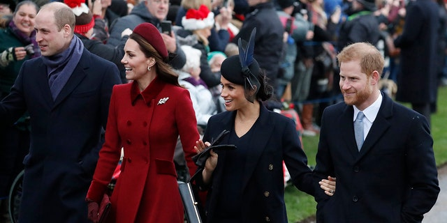 The British Prince William left, Kate, Duchess of Cambridge, second left, Meghan Duchess of Sussex and right, Prince Harry at the St. Mary Magdalene Church Christmas Service in Sandringham, Norfolk (England), Tuesday, December 25, 2018, participate.