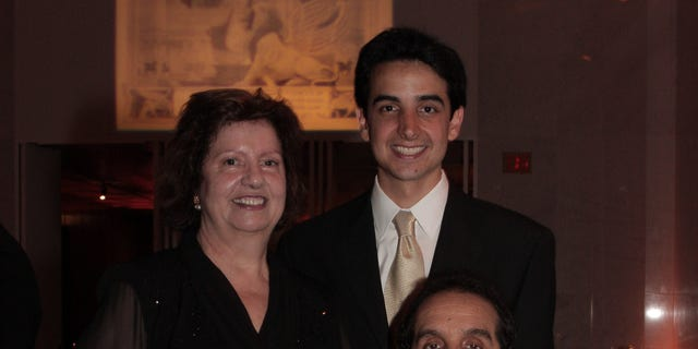 Charles Krauthammer with wife Robyn and son Daniel at Kennedy Center, Pro Musica Hebraica Inaugural Concert 2008.