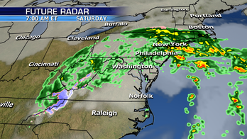 Rainy storm system tracks up the East Coast