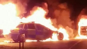 Police car mysteriously bursts into flames during emergency call