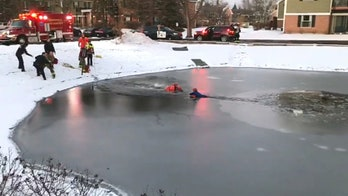Dramatic rescue after boy, 11, falls through ice in Illinois pond seen in stunning video