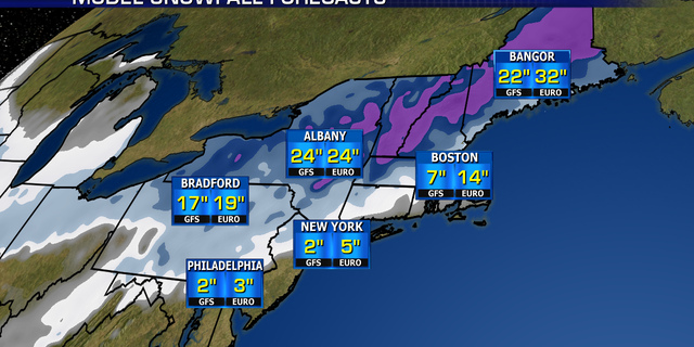 Preliminary snowfall totals from a major winter storm to target the Northeast on Sunday.