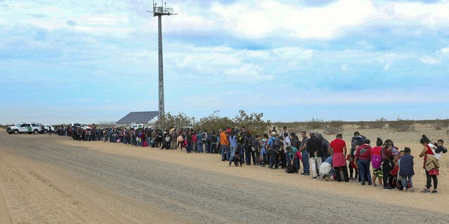 This Monday, Jan. 14, 2019 photo released by U.S. Customs and Border Protection shows some of 376 Central Americans the Border Patrol says it arrested in southwest Arizona, the vast majority of them families, who used short holes dug under a barrier to cross the border in multiple spots about 10 miles east of San Luis, Ariz. The unusually large group was almost entirely from Guatemala.