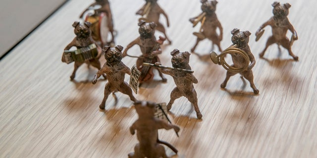 A miniature Austrian Pug Band, circa 1870, on display at the American Kennel Club Museum of the Dog in New York, Wednesday, Jan. 9, 2019.