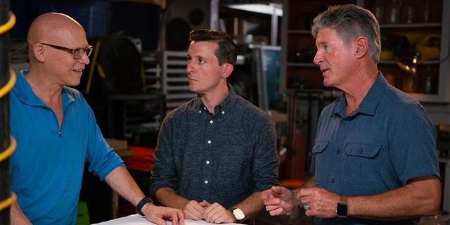 "George Hardeen (right) filming ""Houdini's Last Secrets."""