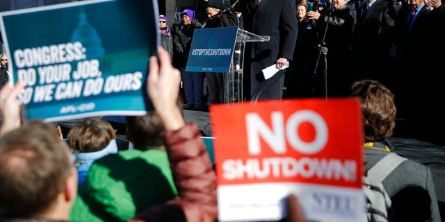 House Majority Leader Rep. Steny Hoyer, D-Md., center on stage, gestures while speaking to union members and other federal employees at a rally to call for an end to the partial government shutdown, Thursday, Jan. 10, 2019, at AFL-CIO Headquarters in Washington. (AP Photo/Pablo Martinez Monsivais)