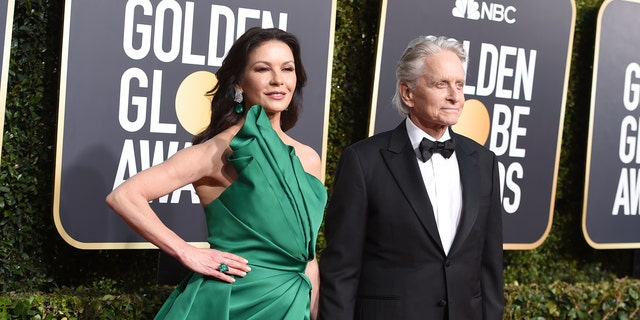 Catherine Zeta-Jones and Michael Douglas on the red carpet at the 2019 Golden Globes.