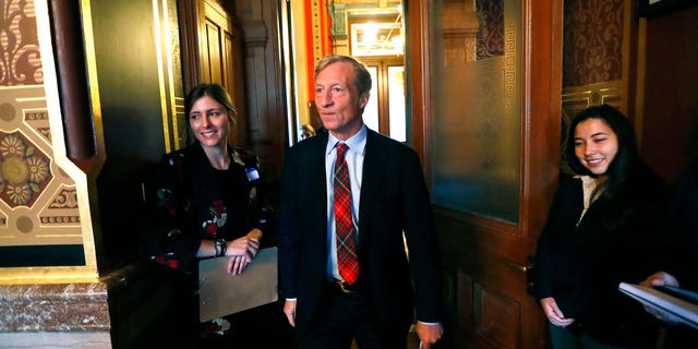 Billionaire investor and Democratic activist Tom Steyer, poised to speak to the Iowa Latino and Asian on Wednesday in Des Moines. (AP Photo/Charlie Neibergall)
