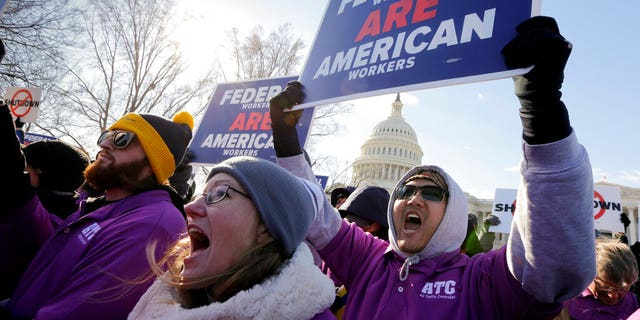 On a 20th day of a prejudiced supervision shutdown, sovereign employees convene during a Capitol to criticism a corner between Congress and President Donald Trump over his direct to account a U.S.-Mexico limit wall, in Washington, Thursday, Jan. 10, 2019. (AP Photo/J. Scott Applewhite)