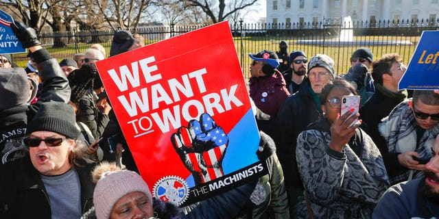 Union members and other sovereign employees stop in front of a White House in Washington during a convene to call for an finish to a prejudiced supervision shutdown, Thursday, Jan. 10, 2019. (AP Photo/Pablo Martinez Monsivais)